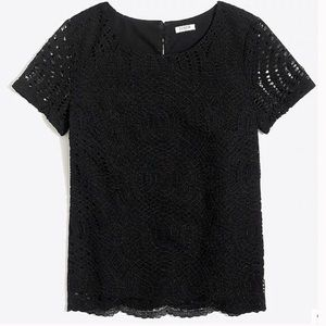 J. Crew Black Lace and Lined Blouse | Sz 12